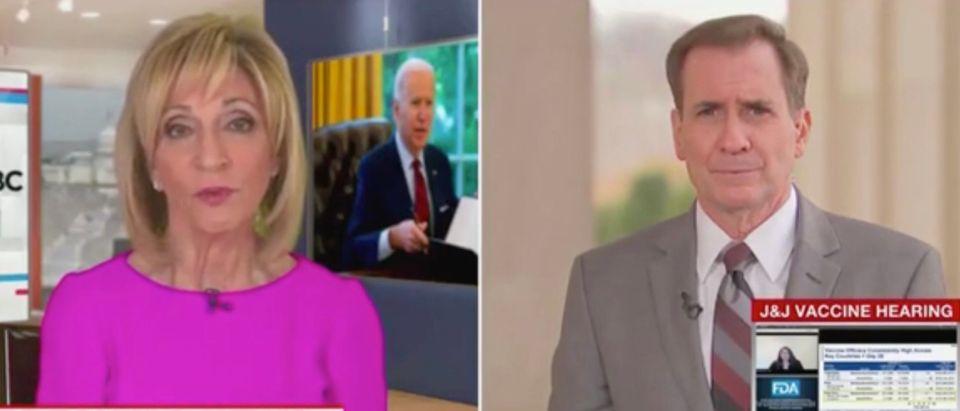 Andrea Mitchell and John Kirby (Screenshot/MSNBC)