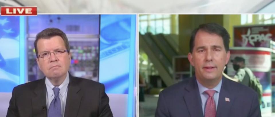 Fox News host Neil Cavuto (L) and former Gov. Scott Walker (R-WI)