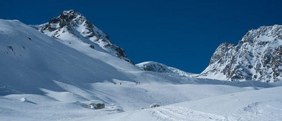 Ski Touring To Pigne Arolla Arolla Switzerland. Stock Photo. Getty.