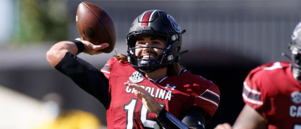 COLUMBIA, SC - OCTOBER 17: Collin Hill #15 of the South Carolina Gamecocks passes the ball against the Auburn Tigers in the fourth quarter of the game at Williams-Brice Stadium on October 17, 2020 in Columbia, South Carolina. The Gamecocks won 30-22. (Photo by Joe Robbins/Getty Images)
