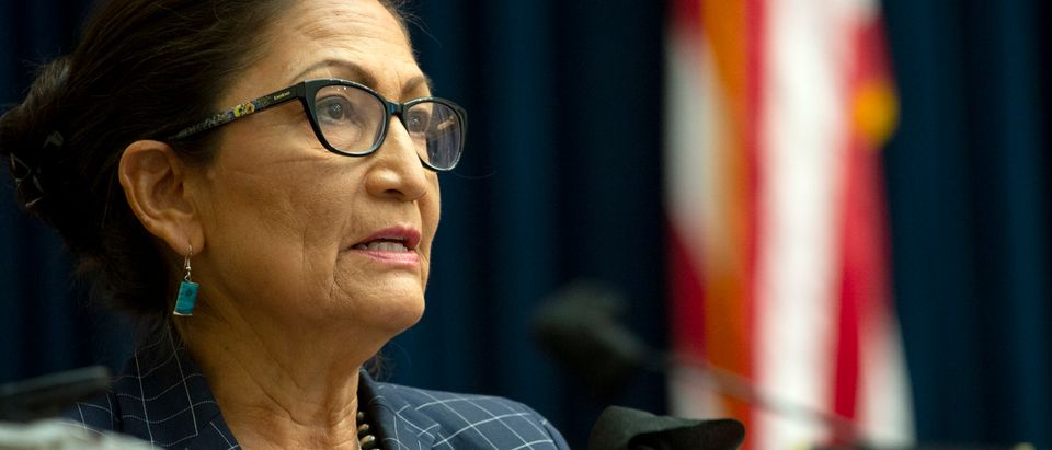 WASHINGTON, DC - JUNE 29: U.S. Rep. Debra Haaland (D-NM) attends a House Natural Resources Committee hearing examining Park Police response to Lafayette Square protests on June 29, 2020 in Washington, D.C. Amid protests of the death of George Floyd, authorities in D.C cleared the largely peaceful crowd gathered in Lafayette Square on June 1 prior to President Donald Trump's walk across the park for a photo op at St. John's Church. (Photo by Bonnie Cash-Pool/Getty Images)