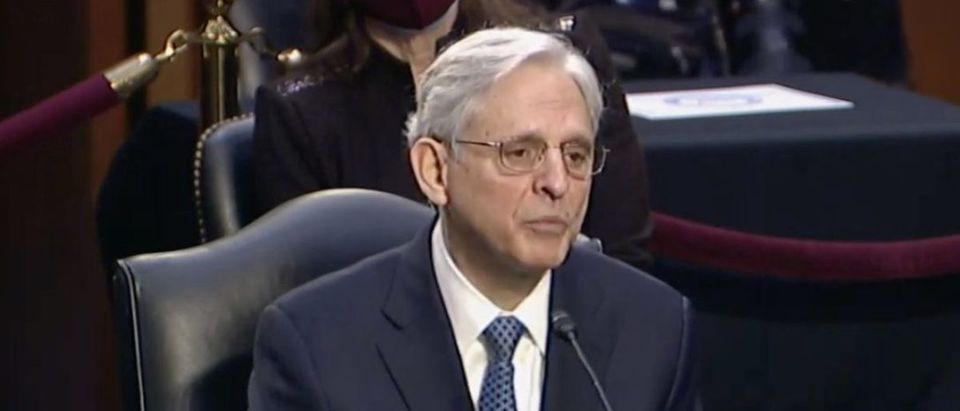 Merrick Garland testifies before the Senate Judiciary Committee, Feb. 22, 2021. (YouTube screen capture/NBC News)