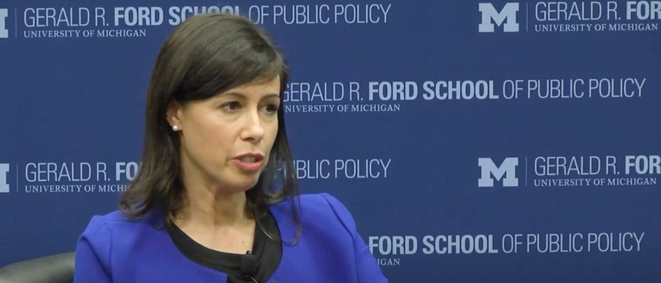 FCC commissioner Jessica Rosenworcel speaks about Net Neutrality in September 2018. (YouTube screen capture/Ford School)