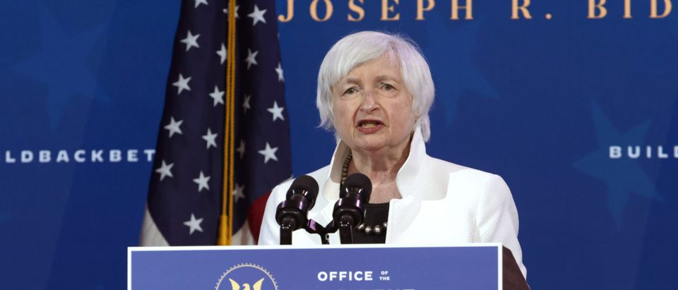 WILMINGTON, DELAWARE - DECEMBER 01: U.S. Secretary of the Treasury nominee Janet Yellen speaks during an event to name President-elect Joe Biden's economic team at the Queen Theater on December 1, 2020 in Wilmington, Delaware. Biden is nominating and appointing key positions to the Treasury Department, Office of Management and Budget, and the Council of Economic Advisers. (Photo by Alex Wong/Getty Images)