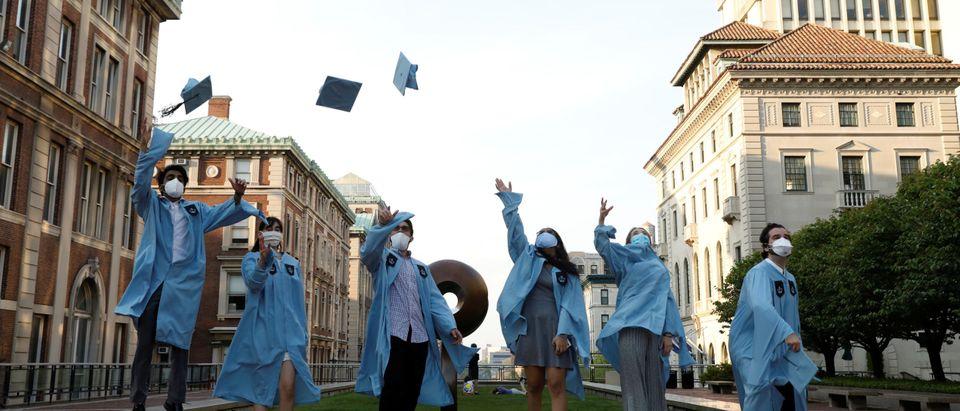 Graduates gather at Columbia University during coronavirus disease (COVID-19) outbreak in Manhattan, New York City