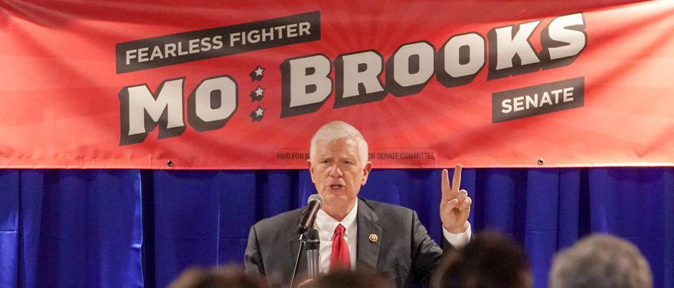 U.S. Rep. Mo Brooks makes an announcement in Huntsville, Alabama
