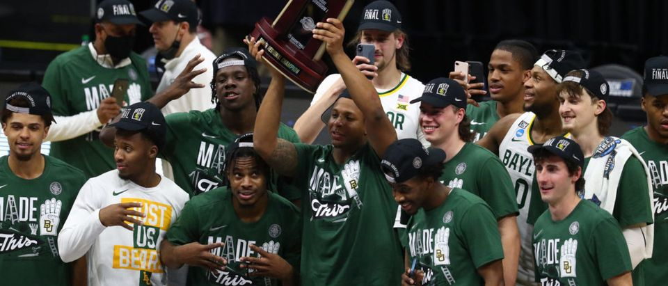 Mar 29, 2021; Indianapolis, Indiana, USA; Baylor Bears pose for a team photo after defeating the Arkansas Razorbacks to advance to the final four in the Elite Eight of the 2021 NCAA Tournament at Lucas Oil Stadium. Mandatory Credit: Mark J. Rebilas-USA TODAY Sports via Reuters