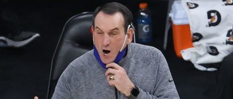 LOUISVILLE, KENTUCKY - JANUARY 23: Mike Krzyzewski the head coach of the Duke Blue Devils gives instructions to his team against the Louisville Cardinals at KFC YUM! Center on January 23, 2021 in Louisville, Kentucky. (Photo by Andy Lyons/Getty Images)