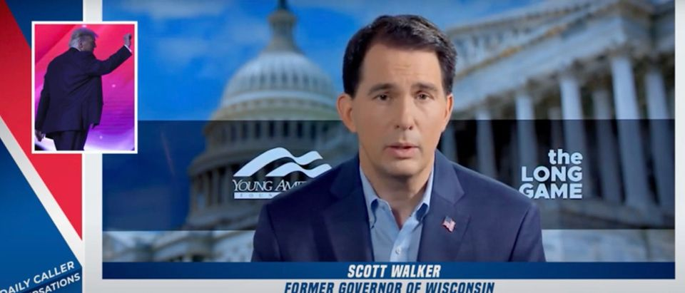 Former Wisconsin Gov. Scott Walker talks to the Daily Caller about former President Donald Trump's role withing the GOP [Youtube:Screenshot:Daily Caller]