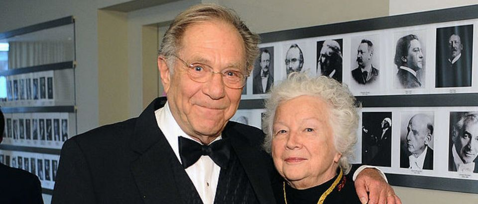 NEW YORK, NY - APRIL 22: Actor George Segal and Sonia Schultz Greenbaum attend the Grey Goose cocktail reception of The Film Society of Lincoln Center's 40th Chaplin Award Gala at Avery Fisher Hall, Lincoln Center on April 22, 2013 in New York City. (Photo by Stefanie Keenan/Getty Images for GREY GOOSE)