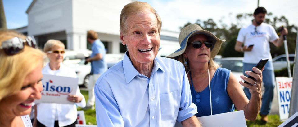 Florida Senate Candidate Bill Nelson Joins In Sign Waving Ahead Of Midterm Elections