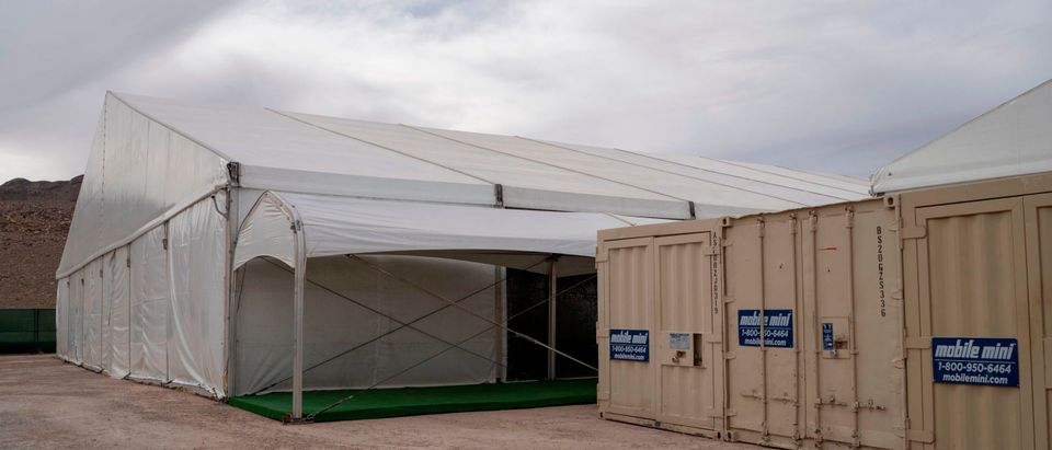 This photo shows a view of the new temporary holding facility opened by Customs and Border Protection in El Paso, Texas, on May 2, 2019. (PAUL RATJE/AFP via Getty Images)
