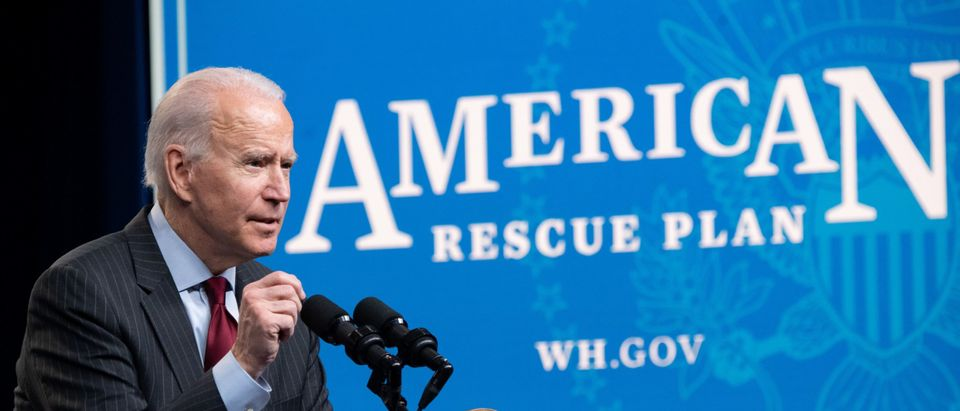 US President Joe Biden speaks about the American Rescue Plan and the Paycheck Protection Program (PPP) for small businesses in response to coronavirus, in the Eisenhower Executive Office Building in Washington, DC, February 22, 2021. - The Paycheck Protection Program (PPP) has been a key lifeline to businesses amid the Covid-19 crisis, but the smallest among them, those least likely to have relationships with banks, often missed out. (Photo by Saul Loeb/AFP via Getty Images)