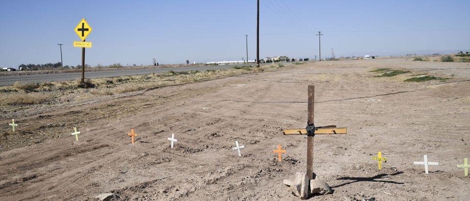Crosses At A Crash Site
