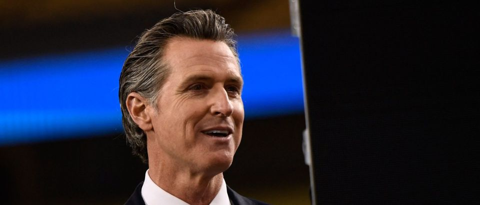 California Governor Gavin Newsom delivers the State of the State address at Dodger Stadium in Los Angeles, California, on March 9, 2021. (Photo by Patrick T. Fallon/AFP via Getty Images)