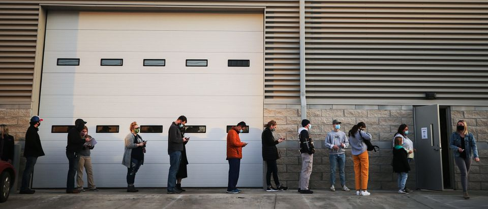Iowans Wait In Line At Polling Stations On The Last Day Of Early Voting