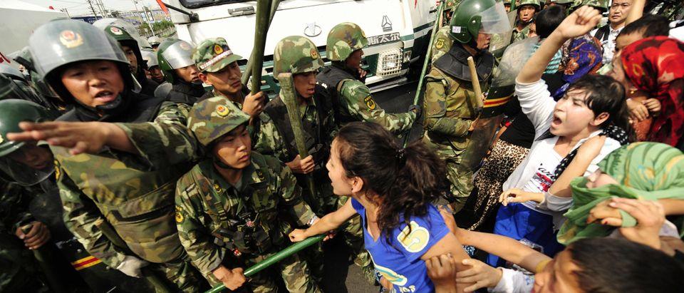 Ethnic Uygur women protest towards Chine