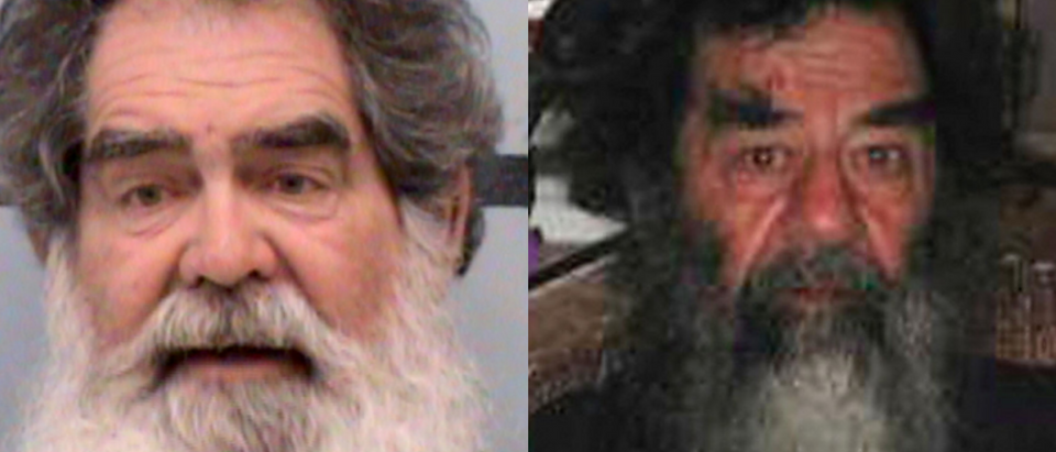 Larry Harris (left) and Saddam Hussein (right)