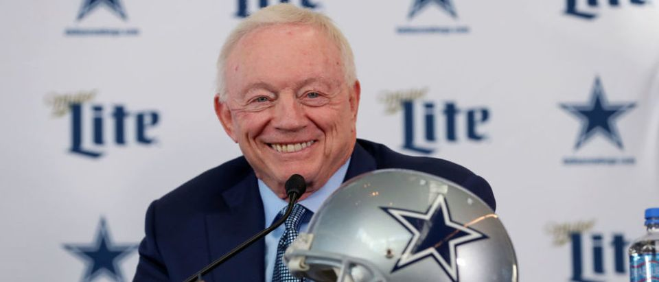 FRISCO, TEXAS - JANUARY 08: Team owner Jerry Jones of the Dallas Cowboys talks with the media during a press conference at the Ford Center at The Star on January 08, 2020 in Frisco, Texas. (Photo by Tom Pennington/Getty Images)