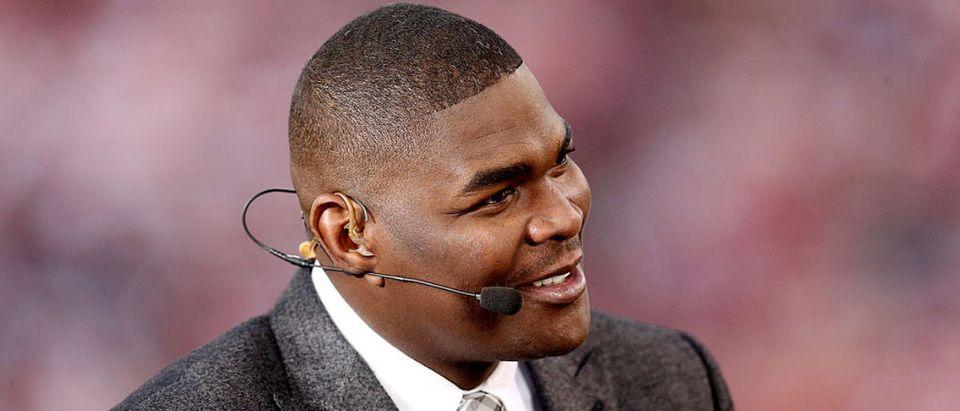 SAN FRANCISCO, CA - DECEMBER 23: ESPN personality Keyshawn Johnson looks on before the last regular season game played at Candlestick Park between the San Francisco 49ers and the Atlanta Falcons on December 23, 2013 in San Francisco, California. (Photo by Stephen Dunn/Getty Images)
