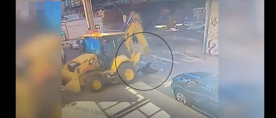 Estelle Davis died after being struck and run over by a backhoe in Brooklyn on Friday [Youtube/Screenshot/Public User Life News Us]