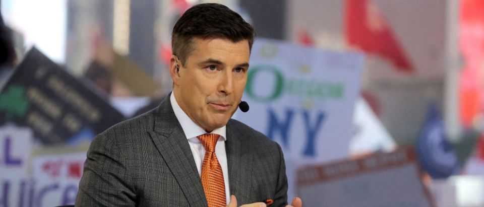 NEW YORK, NY - SEPTEMBER 23: ESPN College GameDay analyst Rece Davis discusses game day at Times Square on September 23, 2017 in New York City. (Photo by Abbie Parr/Getty Images)