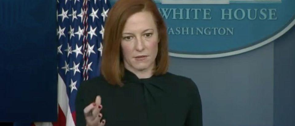 White House press secretary Jen Psaki takes questions. Screenshot/C-Span