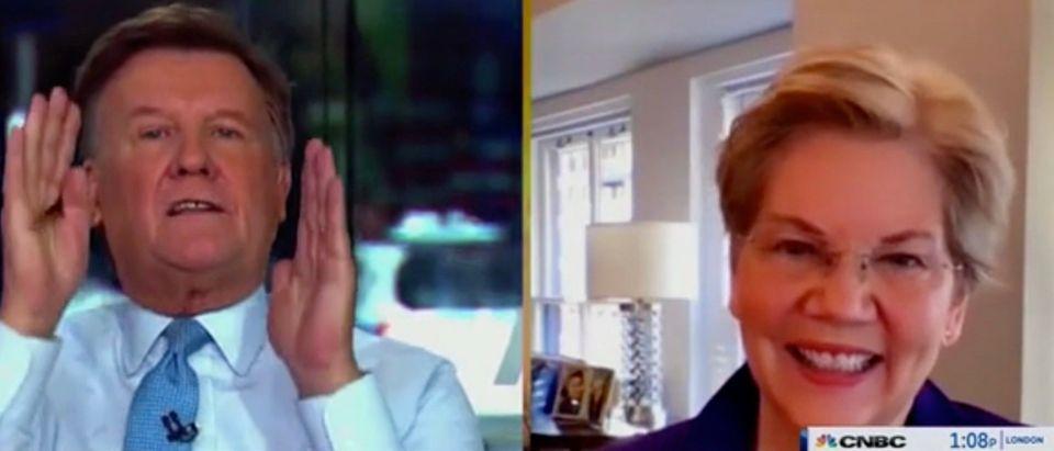Joe Kernan and Sen. Elizabeth Warren (Screenshot/CNBC)