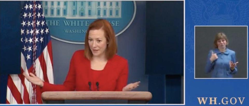 Jen Psaki gives White House press briefing. Screenshot/White House