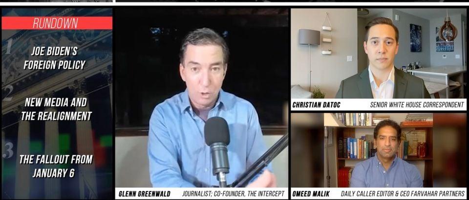 Glenn Greenwald, Christian Datoc, and Omeed Malik (Screenshot/Daily Caller)