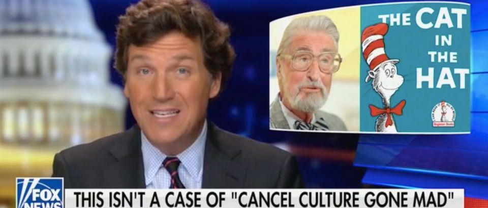 Tucker Carlson discusses Dr. Seuss. Screenshot/Fox News