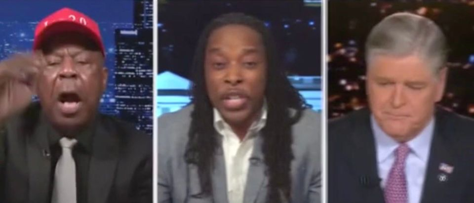 Leo Terrell, Omekongo Dibinga, and Sean Hannity (Screenshot/Fox News)