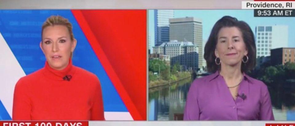 Poppy Harlow and Sec. Gina Raimondo (Screenshot/CNN)