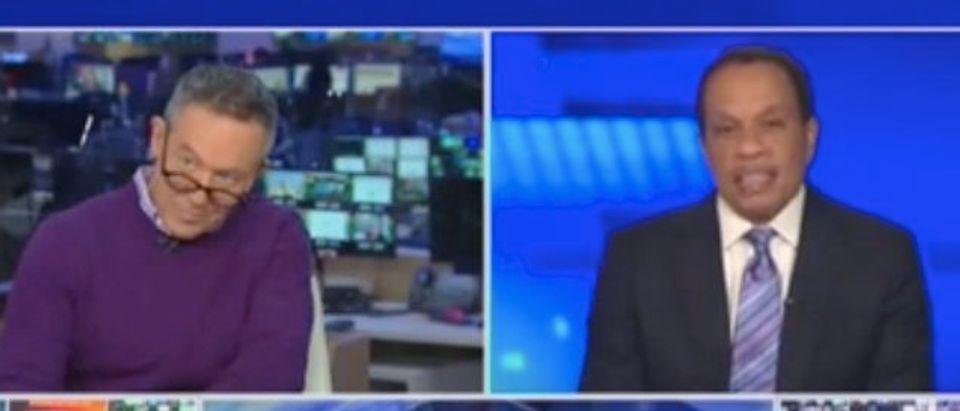 "Greg Gutfeld and Juan Williams appear on ""The Five."" Screenshot/Fox News"