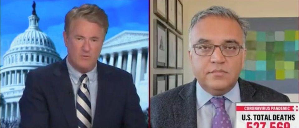 Joe Scarborough and Ashish Jha (Screenshot/MSNBC)