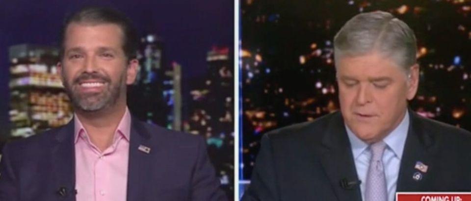 "Donald Trump Jr. appears on ""Hannity."" Screenshot/Fox News"