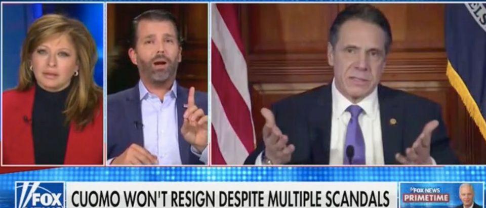 Maria Bartiromo and Donald Trump Jr. discuss Gov. Andrew Cuomo. Screenshot/Fox News