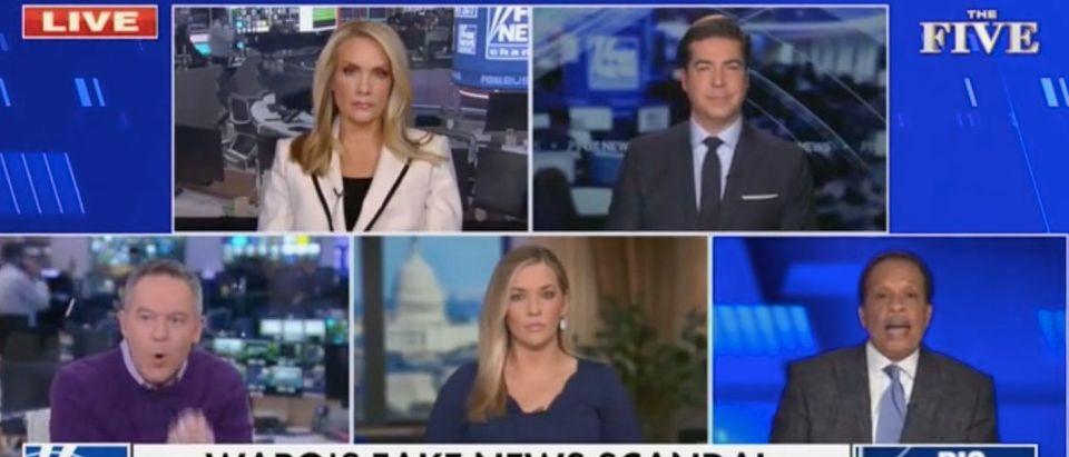 "Dana Perino, Jesse Watters, Greg Gutfeld, Katie Pavlich and Juan Williams appear on ""The Five."" Screenshot/Fox News"