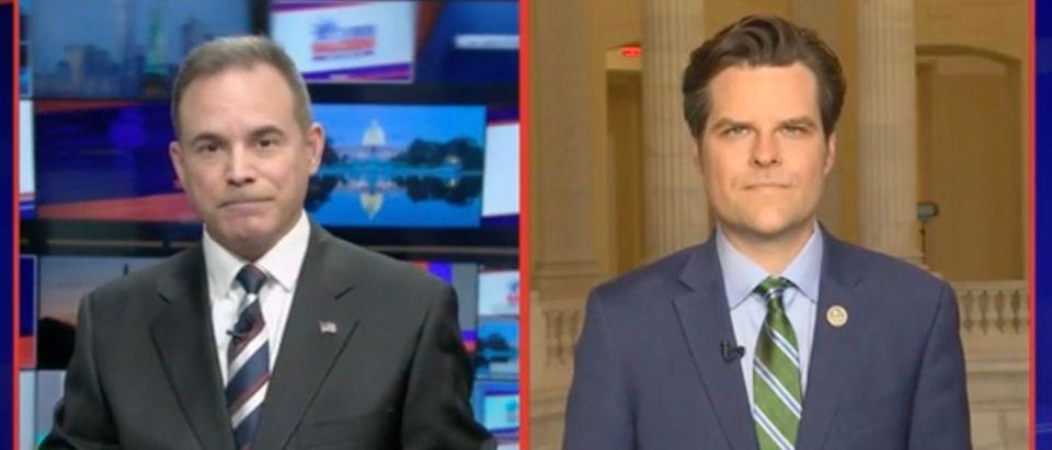Chris Salcedo and Rep. Matt Gaetz (Screenshot/Newsmax)