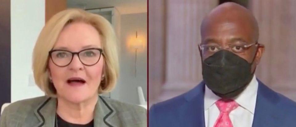 Claire McCaskill and Sen. Raphael Warnock (Screenshot/MSNBC)