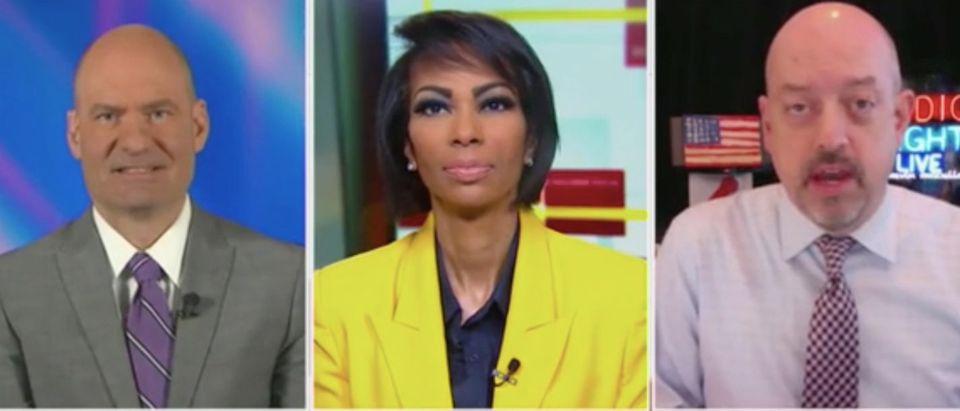 "Chris Hahn, Harris Faulkner and Kevin McCullough appear on ""The Faulkner Focus."" Screenshot/Fox News"