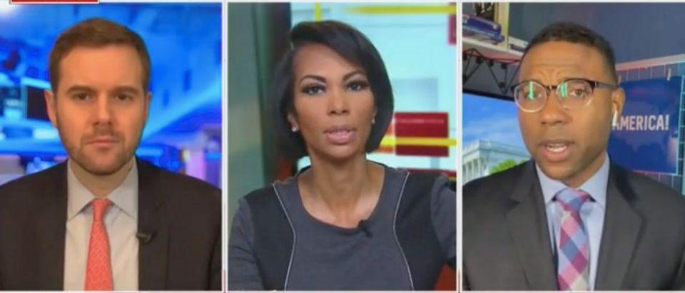 "Guy Benson, Harris Faulkner, and Richard Fowler appear on ""The Faulkner Focus."" Screenshot/Fox News"