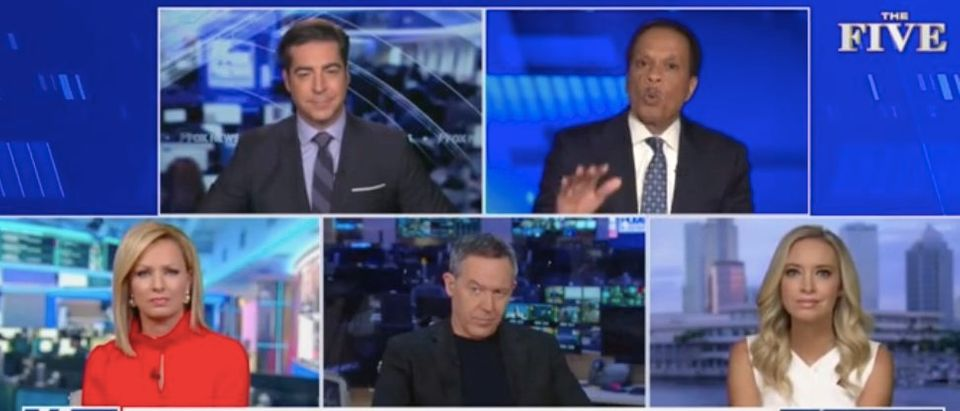 "Jesse Watters, Juan Williams, Sandra Smith, Greg Gutfeld and Kayleigh McEnany appear on ""The Five."" Screenshot/Fox News"
