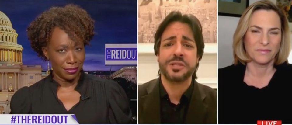 "Joy Reid hosts panel discussion on ""The Reidout."" Screenshot/MSNBC"