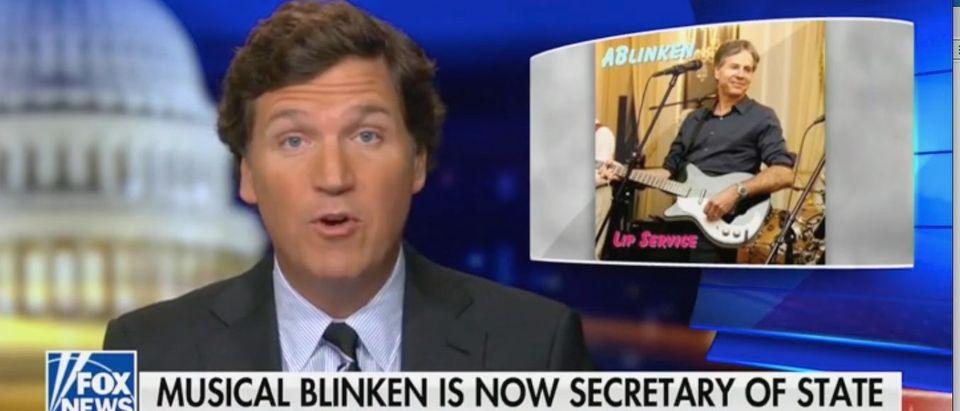 Tucker Carlson addresses Secretary of State Antony Blinken's meeting with the Chinese. Screenshot/Fox News