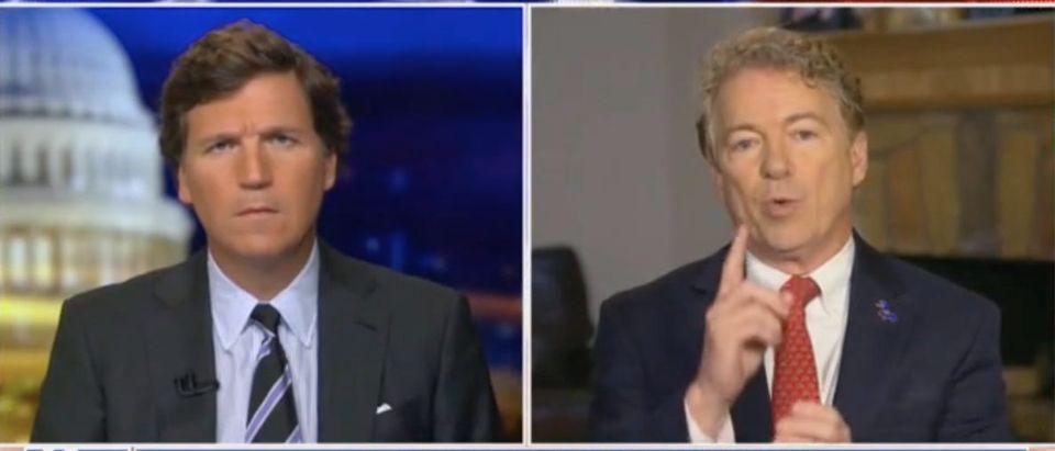 Tucker Carlson speak with Kentucky Sen. Rand Paul. Screenshot/Fox News