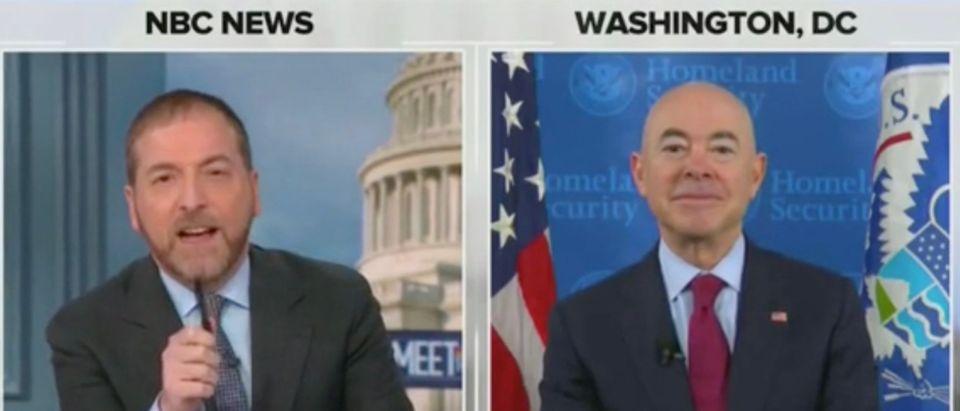 Chuck Todd and Sec. Alejandro Mayorkas (Screenshot/NBC)