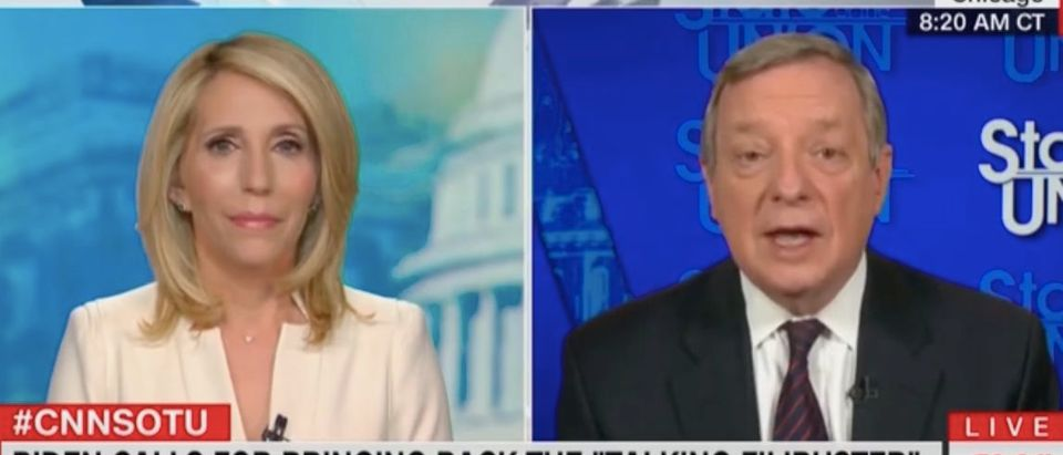 "Dana Bash and Dick Durbin appear on ""State of the Union."" Screenshot/CNN"