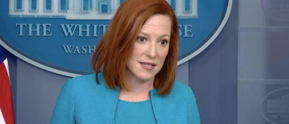 Jen Psaki takes questions during White House press briefing. Screenshot/NBC News