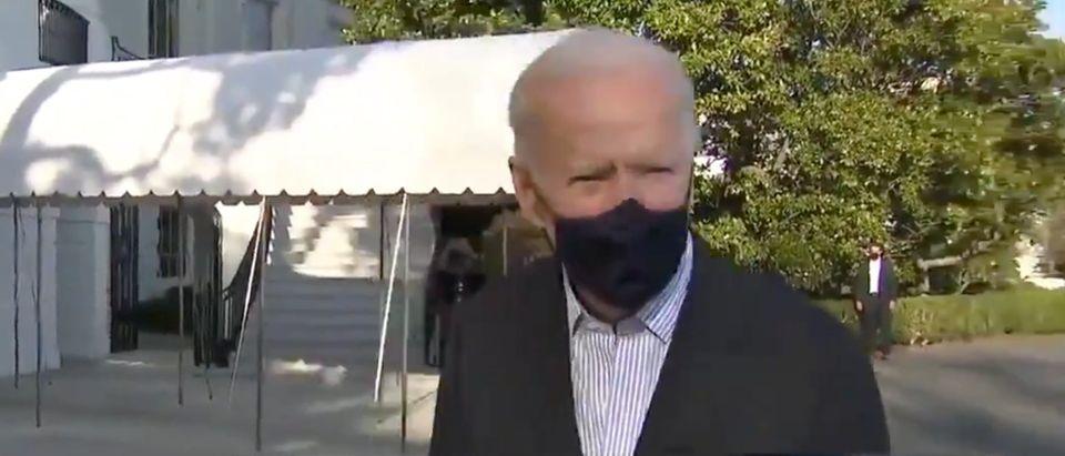 President Joe Biden takes questions on the south lawn.